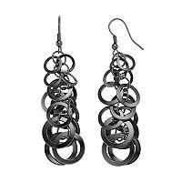 Circle Cluster Nickel Free Graduated Linear Earrings
