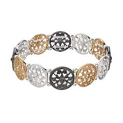 Tri Tone Filigree Circle Link Stretch Bracelet