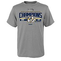 Boys 8-20 Reebok Nashville Predators 2017 Conference Champions Locker Room Tee