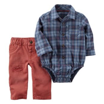 Baby Boy Carter's Plaid Button-Front Bodysuit & Distressed Jeans Set