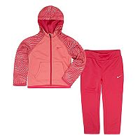 Toddler Girl Nike Therma-FIT Wavy Stripe Zip-Up Hoodie & Pants Set