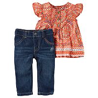 Baby Girl Carter's Floral Tunic & Jeans Set