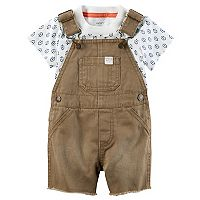 Baby Boy Carter's Leaf Tee & Frayed Shortalls Set