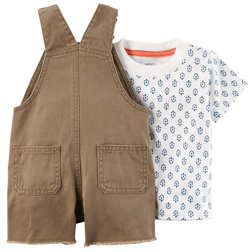 Baby Boy Carter's Leaf Tee & Frayed Shortalls Set