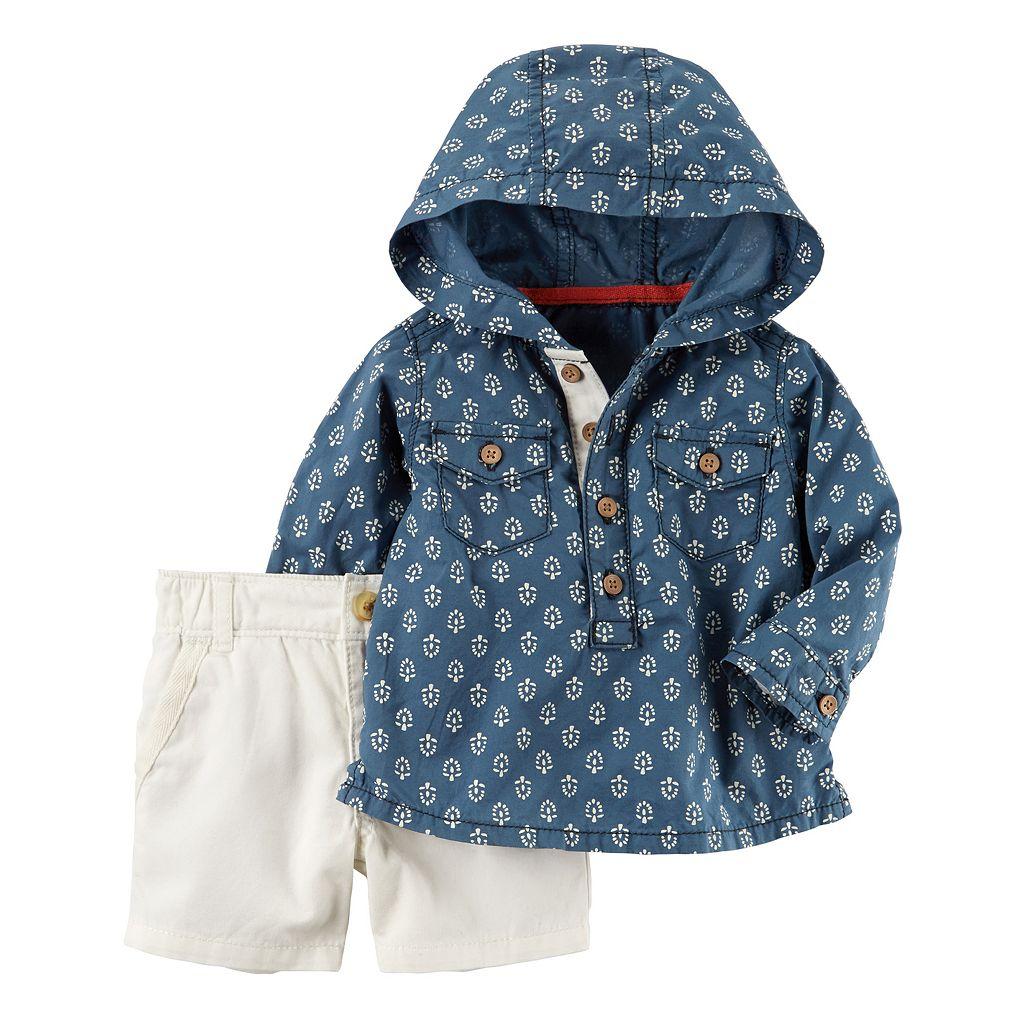 Baby Boy Carter's Hooded Chambray Top & Khaki Shorts Set