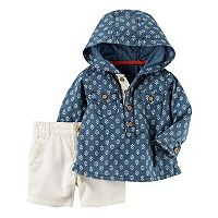 Baby Boy Carter's Hooded Chambray Top & Khaki Shorts Set