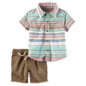 Baby Boy Carter's Striped Shirt & Frayed Shorts Set