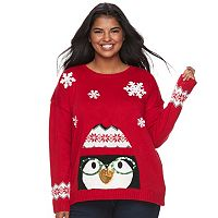 Junior's Plus Size It's Our Time Light-Up Penguin Holiday Sweater
