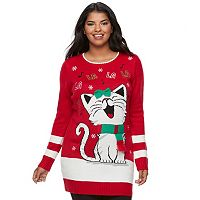 Juniors' Plus Size It's Our Time FaLaLa Kitty Sweater Tunic