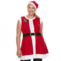 Juniors' Plus Size It's Our Time Mrs. Claus Sweaterdress & Hat