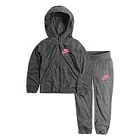 Toddler Girl Nike Gray Heathered Zip-Up Hoodie & Pants Set