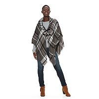 Apt. 9® Frayed Mad for Plaid Poncho
