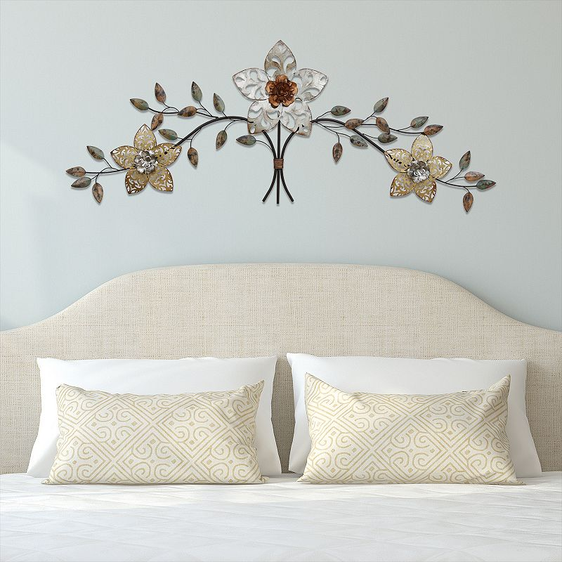 Stratton home decor rustic metal flower wall decor for Home decor online shopping usa