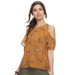 Juniors' Rewind Printed Chiffon Cold Shoulder Top