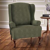 Stretch Sensation Stretch Plaid Wing Chair Slipcover