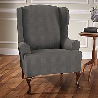 Stretch Sensation Stretch Plaid Wing Chair Slipcover