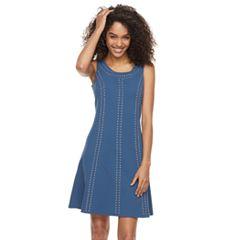 Women's Nina Leonard Embellished A-Line Crepe Dress