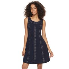 Women's Nina Leonard Embellished A-Line Crepe Dress