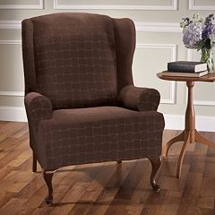 Stretch Sensation Basketweave Wing Chair Slipcover