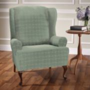 Jeffrey Home Stretch Sensations Basketweave Wing Chair Slipcover
