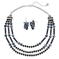 Chaps Multi Strand Beaded Necklace & Cluster Earrings Set