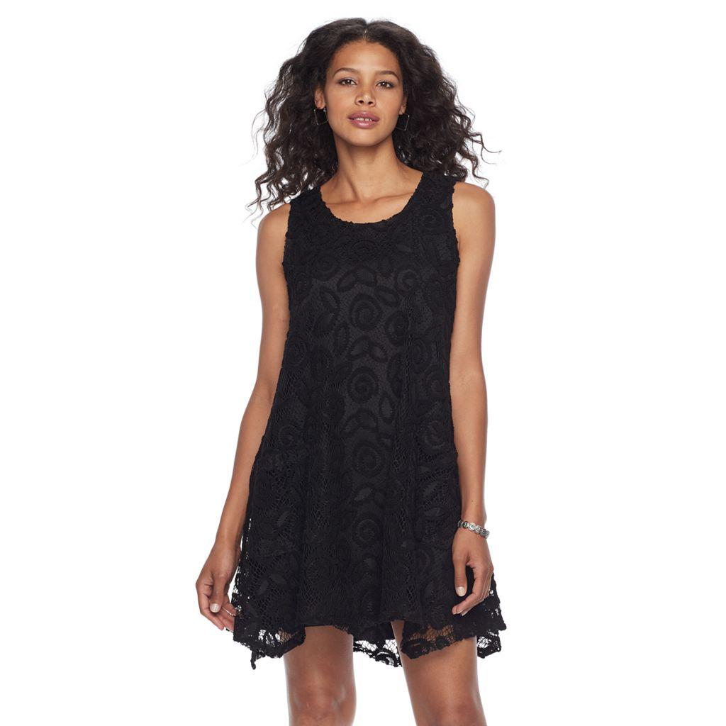 Petite Nina Leonard Sleeveless Lace Trapeze Dress