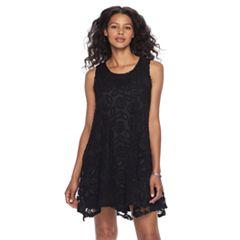 Women's Nina Leonard Sleeveless Lace Trapeze Dress
