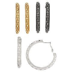 Textured Mesh Hoop Earring Set