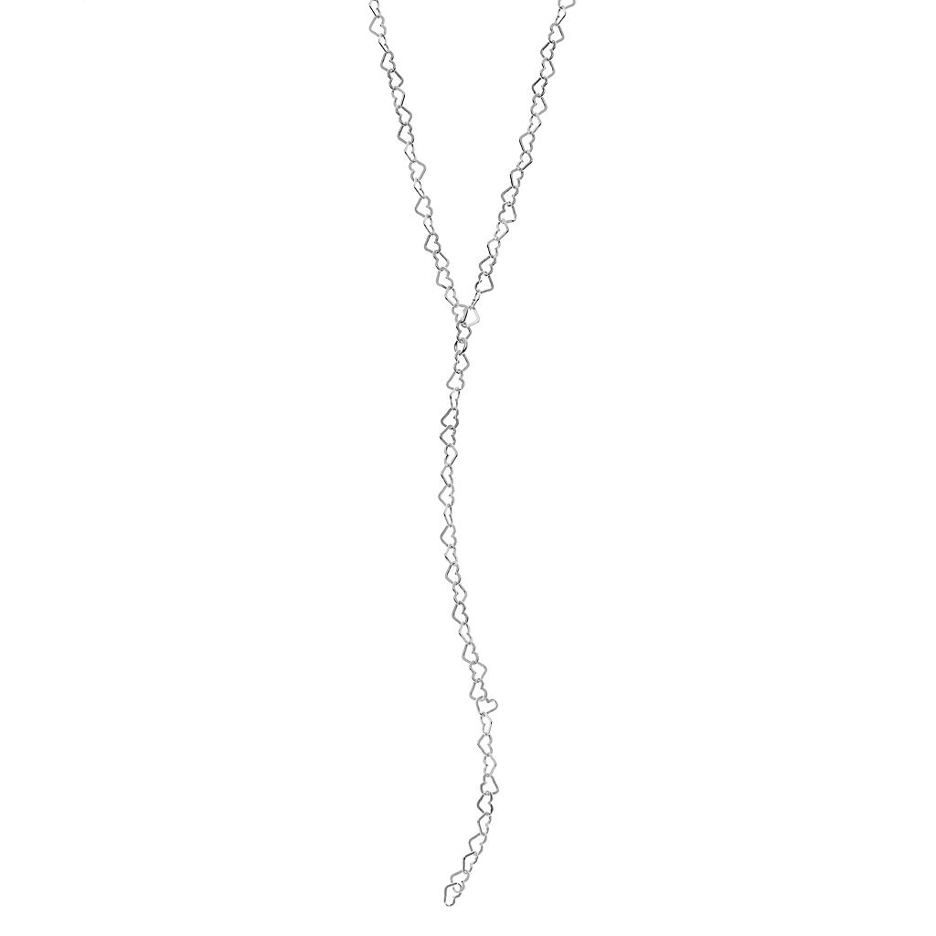 PRIMROSE Sterling Silver Heart Link Y Necklace