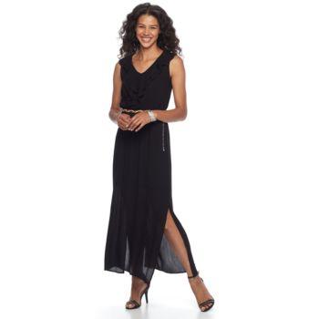 Women's Nina Leonard Sleeveless Ruffled V-Neck Maxi Dress