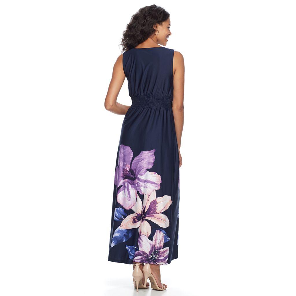 Women's Nina Leonard Sleeveless Floral Smocked Maxi Dress