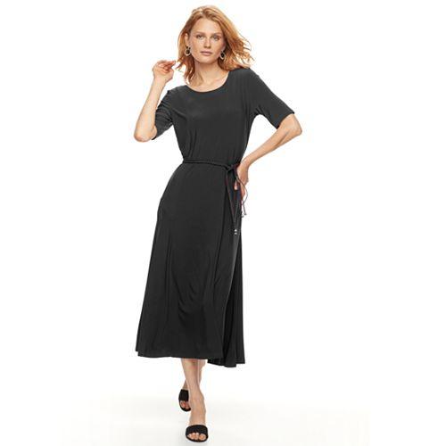 Women's Nina Leonard Solid Tea-Length Dress