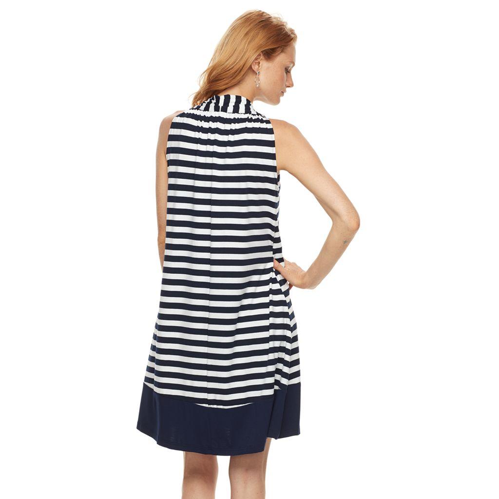 Women's Nina Leonard Striped Trapeze Dress