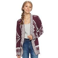 Juniors' Pink Republic Geometric Long Sleeve Cardigan