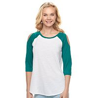 Juniors' SO® Cold Shoulder Raglan Tee