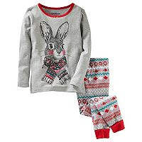 Girls 4-14 OshKosh B'gosh® Bunny Rabbit Top & Fairisle Bottoms Pajama Set