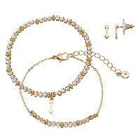 LC Lauren Conrad Arrow Beaded Bracelet & Stud Earring Set