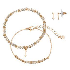 LC Lauren Conrad Arrow Beaded Bracelet & Stud Earring Set