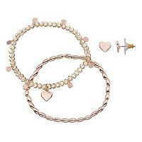 LC Lauren Conrad Heart Beaded Stretch Bracelet & Stud Earring Set