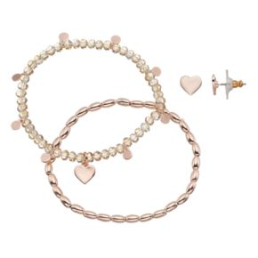 LC Lauren Conrad Heart Beaded Stretch Bracelet & Stud Earring Set