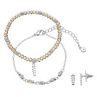 LC Lauren Conrad Leaf Beaded Bracelet & Stud Earring Set