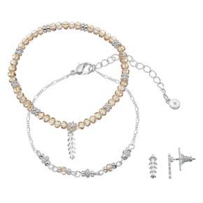 LC Lauren Conrad Leaf Beaded Bracelet & Stud Earring Set