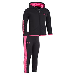 Baby Girl Under Armour Fleece Hoodie & Dot Leggings Set