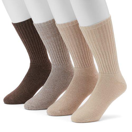 Men's Croft & Barrow® 4-pack Marled Khaki Cushioned Crew Socks
