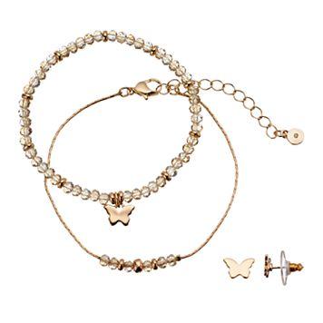 LC Lauren Conrad Butterfly Beaded Bracelet & Stud Earring Set
