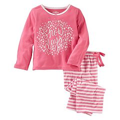 Girls 4-14 OshKosh B'gosh® 'Snow Days' Top & Striped Bottoms Pajama Set