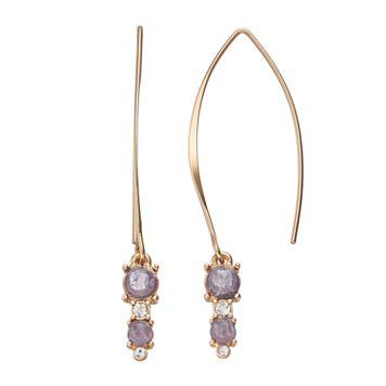 LC Lauren Conrad Purple Stone Nickel Free Threader Earrings