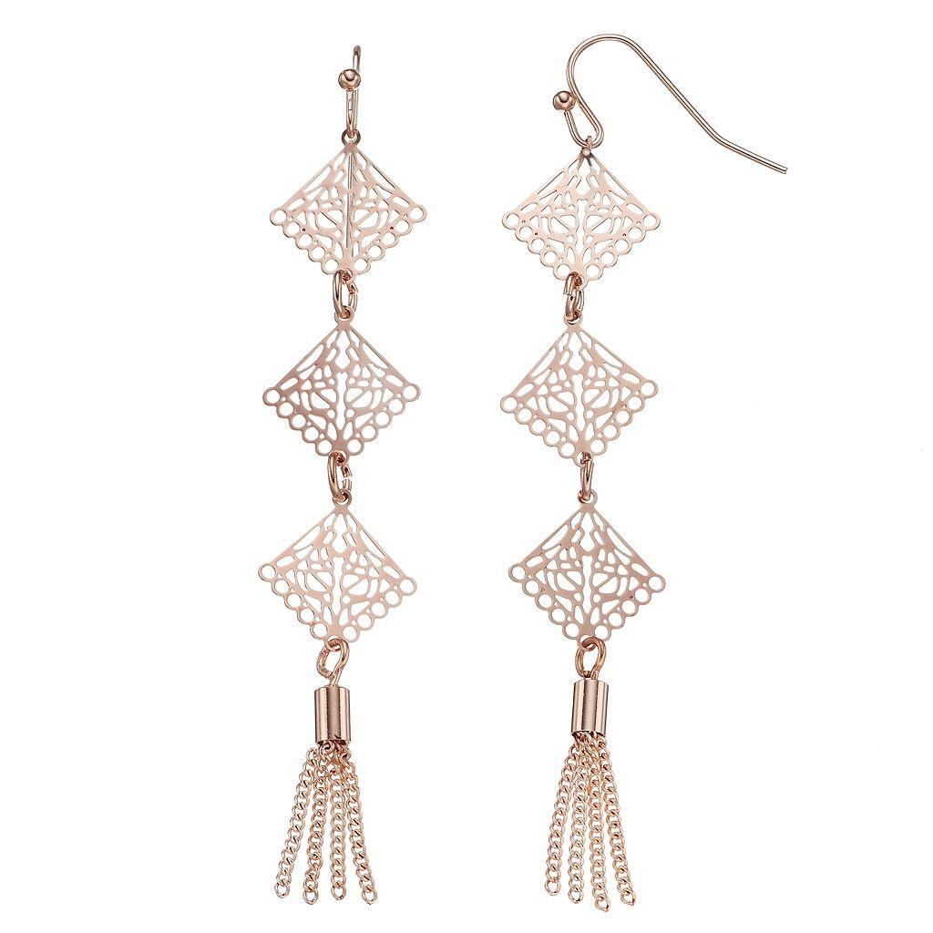 LC Lauren Conrad Tassel Filigree Nickel Free Linear Drop Earrings