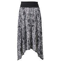 Women's AB Studio Print Shark-Bite Midi Skirt