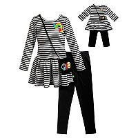 Girls 4-14 Dollie & Me Striped Dress, Leggings & Purse Set